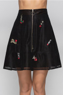 Embroidered Zip Front Skirt
