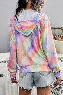 Fashion Women's Tie Dye Gradient Hoodie Cardigan