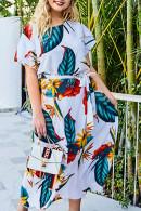 Floral Lace Up Maxi Dress