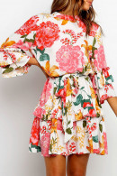 Floral Ruffled Scoop Dress