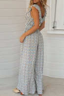 Floral Sleeveless Lace-up Jumpsuit