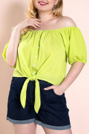 Fluorescent Green Casual Blouse
