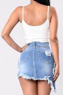 Frayed Casual Denim Skirt