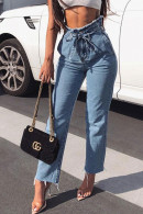 Frayed Lace-up Jeans