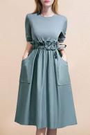 Frill Waist Patchwork Dress