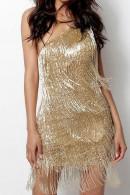 Gold One Shoulder Tassel Dress