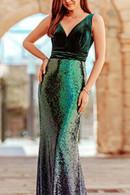 Gradient Sequin Panel Dress