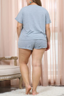 Gray Letter Shorts PJ Set