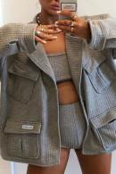 Gray Pockets Woven Jacket