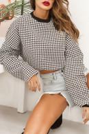 Grid Scoop Crop Sweatshirt