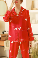 Heart Print Button Pajama Suit
