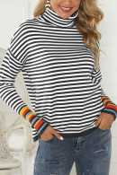 High-Neck Striped Sweatshirt