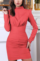 High Neck Solid Dress