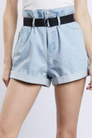 High Waist Rolled Denim Shorts