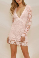 Hollow Out Lace Backless Dress