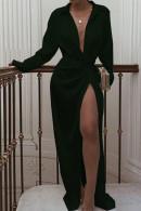 black Knotted Long Shirt Dress