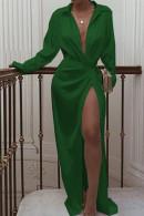 green Knotted Long Shirt Dress