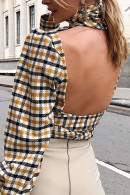 Lace-up Plaid Backless Top