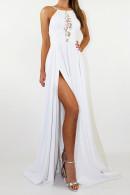 Lace Halter Slit Prom Dress