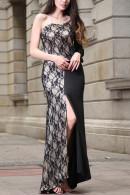 Lace Patchwork Slit Prom Dress