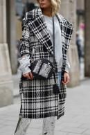 Lapel Gingham Long Coat