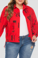Letter Print Plus Size Coat
