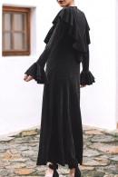 Mesh Panel Ruffle Sequined Dress