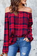 Off Shoulder Plaid Buttoned Shirt
