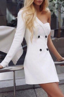 One Shoulder Buttoned Dress