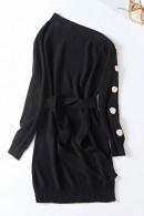 One Shoulder Lace-up Knit Dress