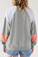 Patched Loose Drawstring Sweatshirt