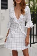 Plaid Cutout Back Ruffle Dress