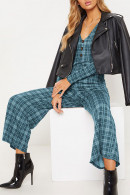 Plaid Long Sleeve Jumpsuit