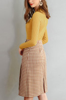 Plaid Pockets Slit Back Skirt