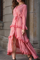 Plaid Ruffled Maxi Dress