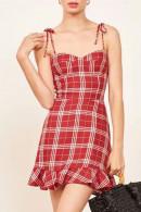Plaid Spaghetti Straps Ruffle Dress