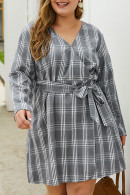 Plaid V-Neck Lace-up Dress