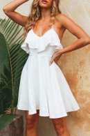 Plain Backless Ruffle Dress