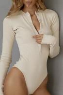 Plain Buttoned Rib Bodysuit