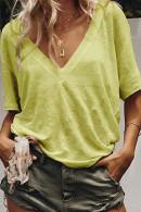 Plain V-neck Casual T-shirt