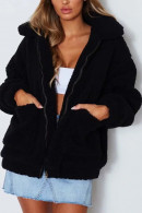 Plain Zipper Up Teddy Coat