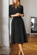 Plus Size Buttoned Lace-up Dress