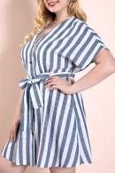 Plus Size Striped Lace-up Dress