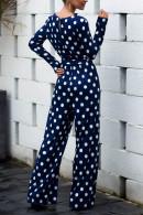 Polka Dot Lace-up Jumpsuit