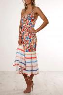 Print Chiffon Pleated Dress
