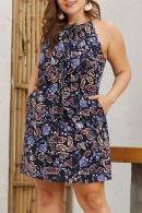 Print Drawstring Halter Dress