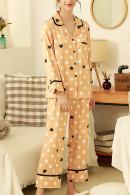 Print Lapel Pajama Pants Set
