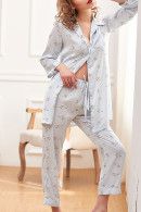 Print Lapel Pajama Suit