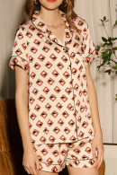 Print Pajama Short Set With Pocket