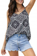 Printed V-neck Casual Blouse